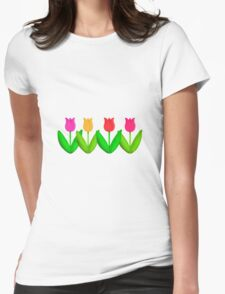 Spring Flowers Tulips in a Row Womens Fitted T-Shirt