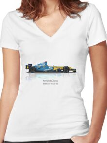 Fernando Alonso - Renault R26 Women's Fitted V-Neck T-Shirt