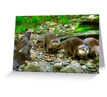 Otters making their way to the water Greeting Card