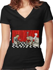 Twin Peaks Black Lodge  Women's Fitted V-Neck T-Shirt