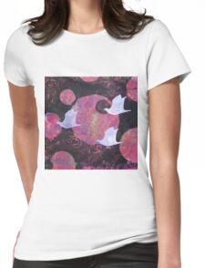 Three Cosmic Birds Monoprint Original Womens Fitted T-Shirt