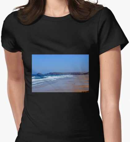 Droskyn Point, Perranporth Cornwall.. Womens Fitted T-Shirt