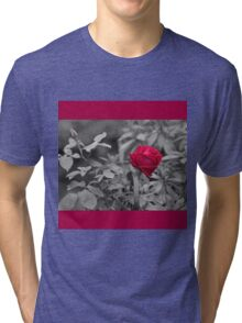 Romantic pastel gray red girly roses floral Tri-blend T-Shirt