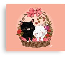 Basket of kittens Canvas Print