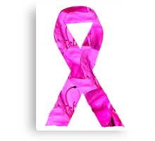 Pink Azalea Flowers Awareness Ribbon Canvas Print