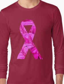 Pink Azalea Flowers Awareness Ribbon Long Sleeve T-Shirt