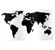 Black World Map Poster