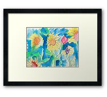 Summer Sunflower Garden In Watercolor and Ink Framed Print