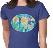 Summer Sunflower Garden In Watercolor and Ink Womens Fitted T-Shirt