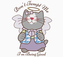 Don't Tempt Me I'm Being Good Angel Cat Womens Fitted T-Shirt