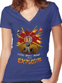 Bomberman's Explosive Personality Women's Fitted V-Neck T-Shirt