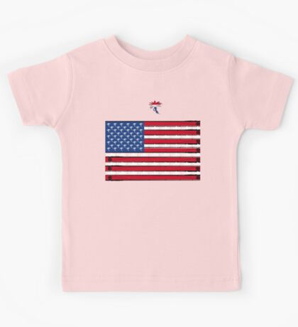 Fly Fishing USA Stars and Stripes Digital Art Kids Tee