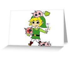 Link and the Windfall Island Pigs Greeting Card