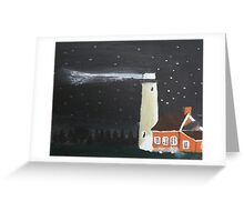 Peaceful Michigan Lighthouse At Night With Starlit Sky Greeting Card