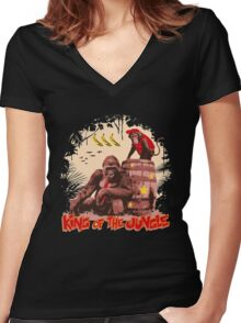 Donkey Kong - King of the Jungle Women's Fitted V-Neck T-Shirt