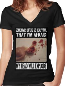 Beautiful Life: Head Explosion Women's Fitted V-Neck T-Shirt