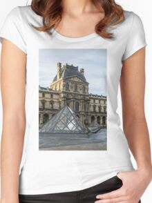 Two Pyramids of the Louvre  Women's Fitted Scoop T-Shirt