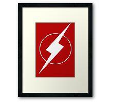 Simplistic Flash Symbol white Framed Print