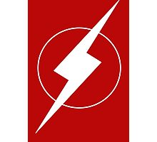 Simplistic Flash Symbol white Photographic Print