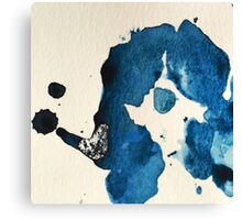 Blue Ink Splat Canvas Print