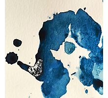 Blue Ink Splat Photographic Print