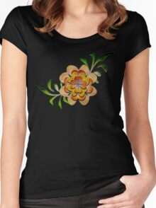 Tonal Flowers Women's Fitted Scoop T-Shirt