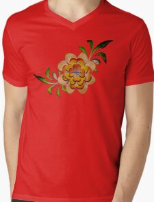 Tonal Flowers Mens V-Neck T-Shirt