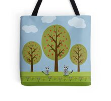 Cute Raccoons and Apple Trees Tote Bag