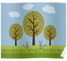 Cute Raccoons and Apple Trees Poster
