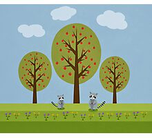 Cute Raccoons and Apple Trees Photographic Print