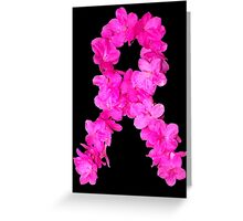 Azalea Flower Arrangement Photo Breast Cancer Awareness Ribbon Greeting Card