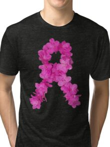 Azalea Flower Arrangement Photo Breast Cancer Awareness Ribbon Tri-blend T-Shirt