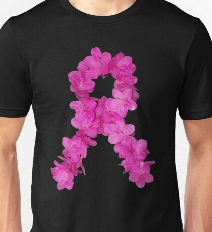 Azalea Flower Arrangement Photo Breast Cancer Awareness Ribbon Unisex T-Shirt