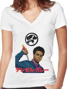 Denzel Black Samuri Curry Women's Fitted V-Neck T-Shirt