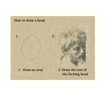 How to draw a head Art Print