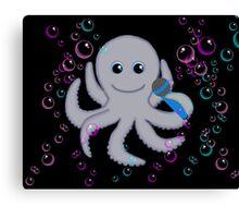 Singing Octopus Bubbles Black Canvas Print