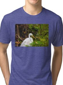 Great Blue Heron - White Tri-blend T-Shirt