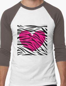 Hot Pink Heart Zebra Stripes Men's Baseball ¾ T-Shirt
