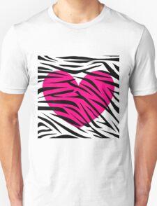 Hot Pink Heart Zebra Stripes Unisex T-Shirt