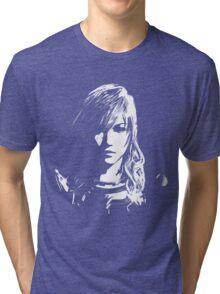 Final Fantasy XIII Lightning - Black and White Tri-blend T-Shirt