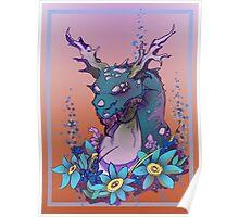Flower Dragon Poster
