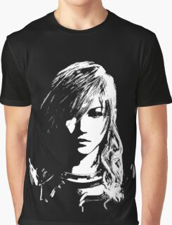 Final Fantasy XIII Lightning - Black and White Graphic T-Shirt