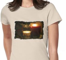 Holly Leaves and Candles All Aglow Womens Fitted T-Shirt