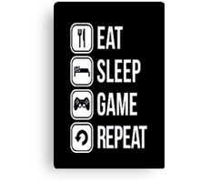 Gamer design:Eat, sleep, game, rapeat Canvas Print