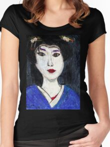 Portrait Of A Geisha Women's Fitted Scoop T-Shirt