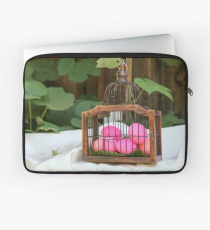 red hard boiled eggs (dyed with beetroot) in a birds cage. A good start for Easter eggs  Laptop Sleeve