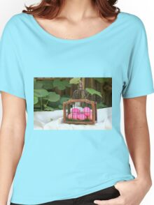 red hard boiled eggs (dyed with beetroot) in a birds cage. A good start for Easter eggs  Women's Relaxed Fit T-Shirt