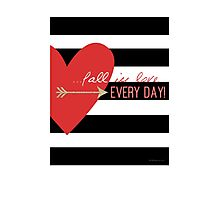 Fall In Love Everyday Heart Valentine Couple Geeky T-Shirt Photographic Print