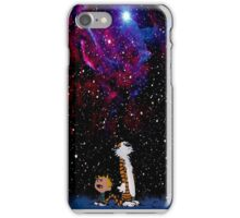 Calvin and hobbes in nebula iPhone Case/Skin