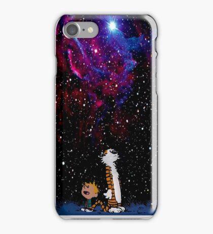 Calvin and hobbes in nebula iPhone Case/Skin